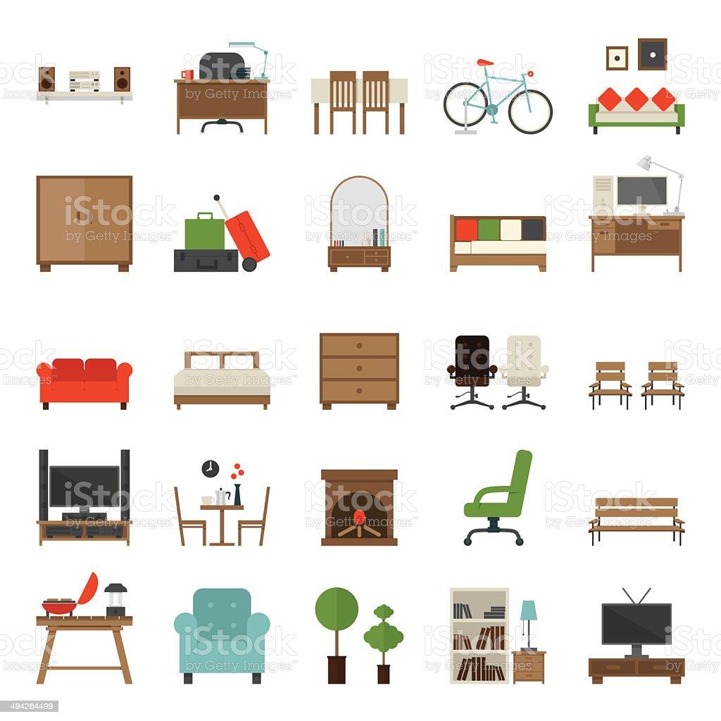Icônes plat de meubles Design - Illustration vectorielle