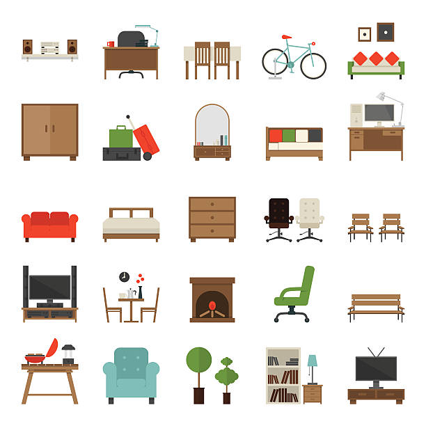 bildbanksillustrationer, clip art samt tecknat material och ikoner med furniture icons flat design - möbel