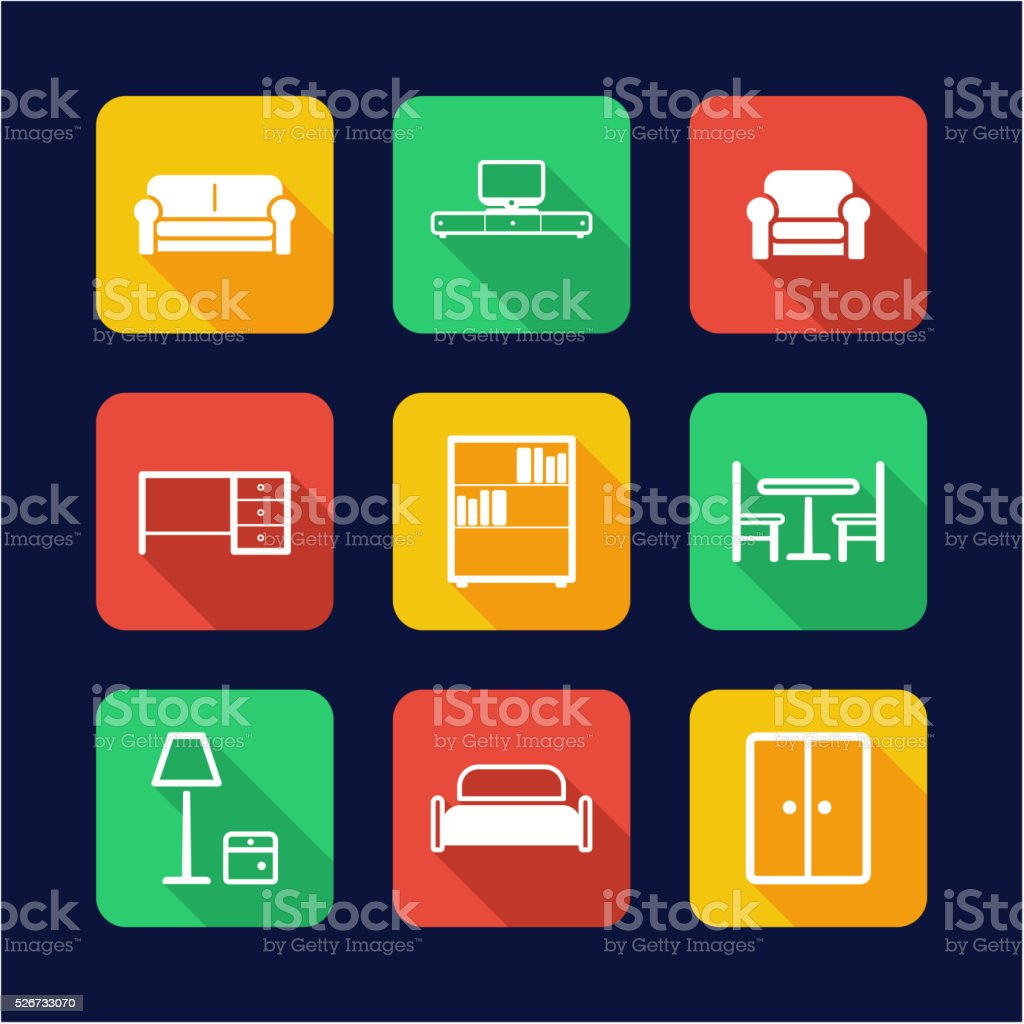 Furniture Icons Flat Design vector art illustration