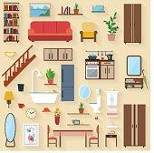 Furniture icons flat illustration