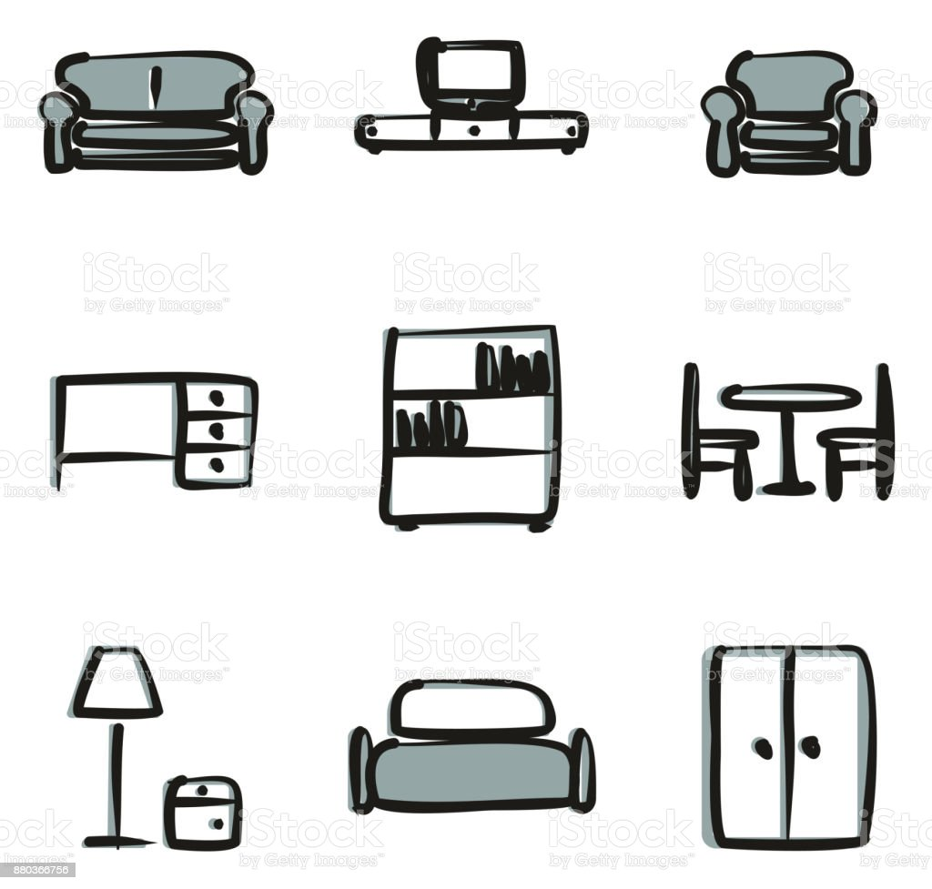 Furniture Icons Freehand 2 Color vector art illustration