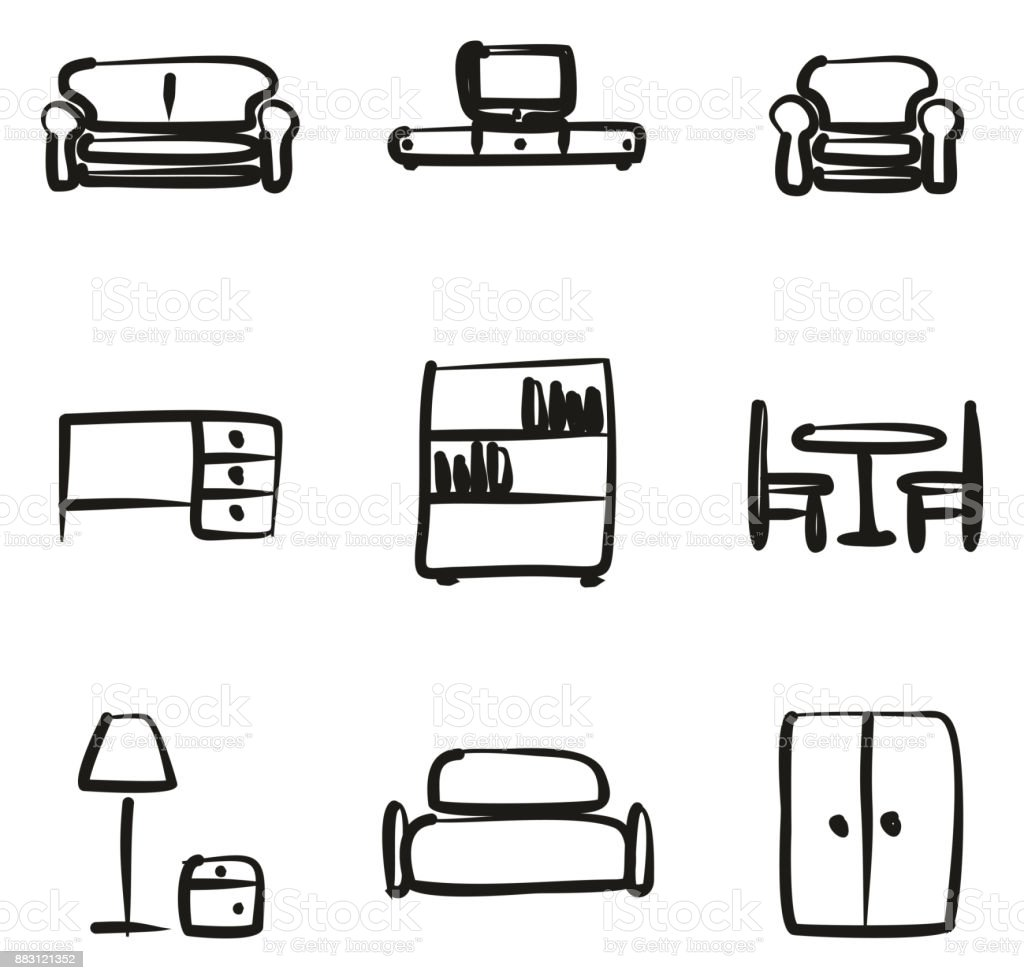 Furniture Icons Freehand vector art illustration