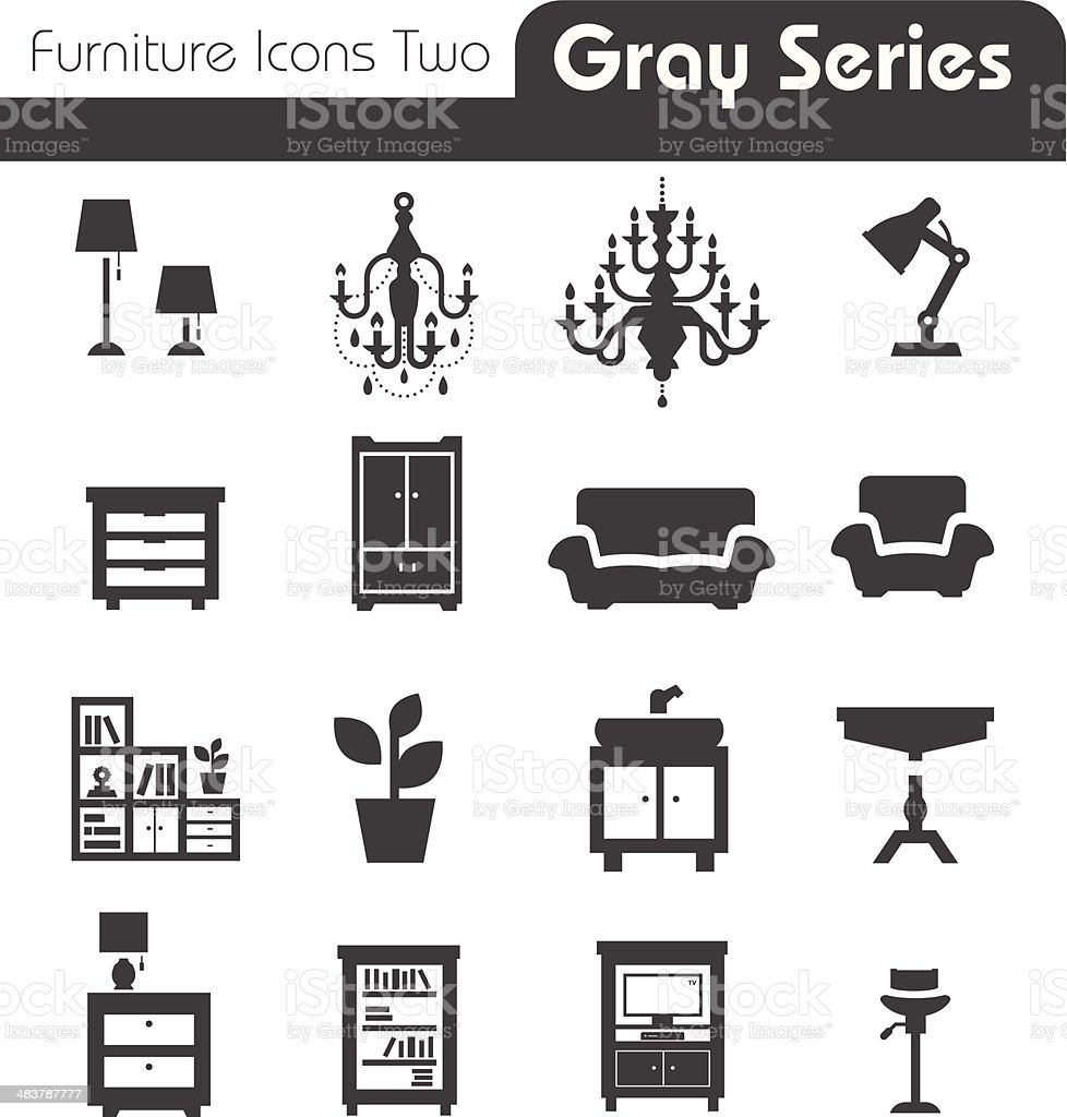 Furniture Icons gray series two royalty-free stock vector art