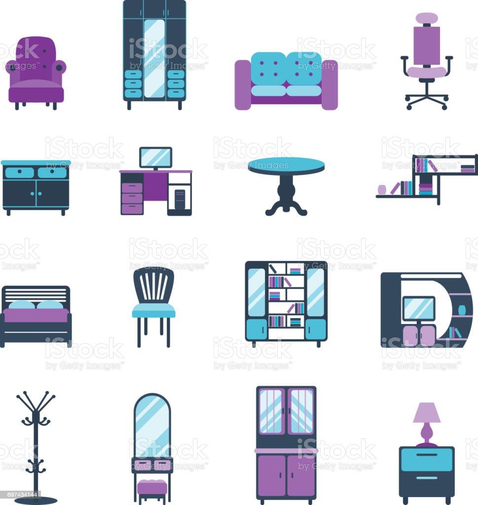 Ilustración de Muebles Iconos Diseño Moderno Salón Equipado Símbolos ...
