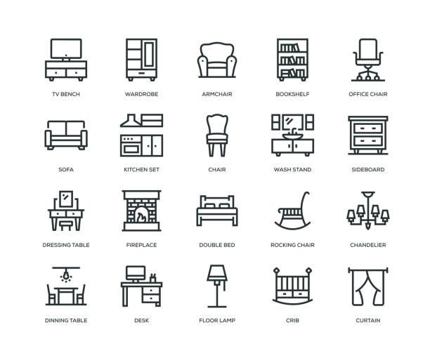 illustrazioni stock, clip art, cartoni animati e icone di tendenza di furniture icons - line series - kitchen room