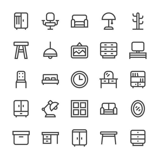 bildbanksillustrationer, clip art samt tecknat material och ikoner med möbler ikoner - mediumx linje - möbel