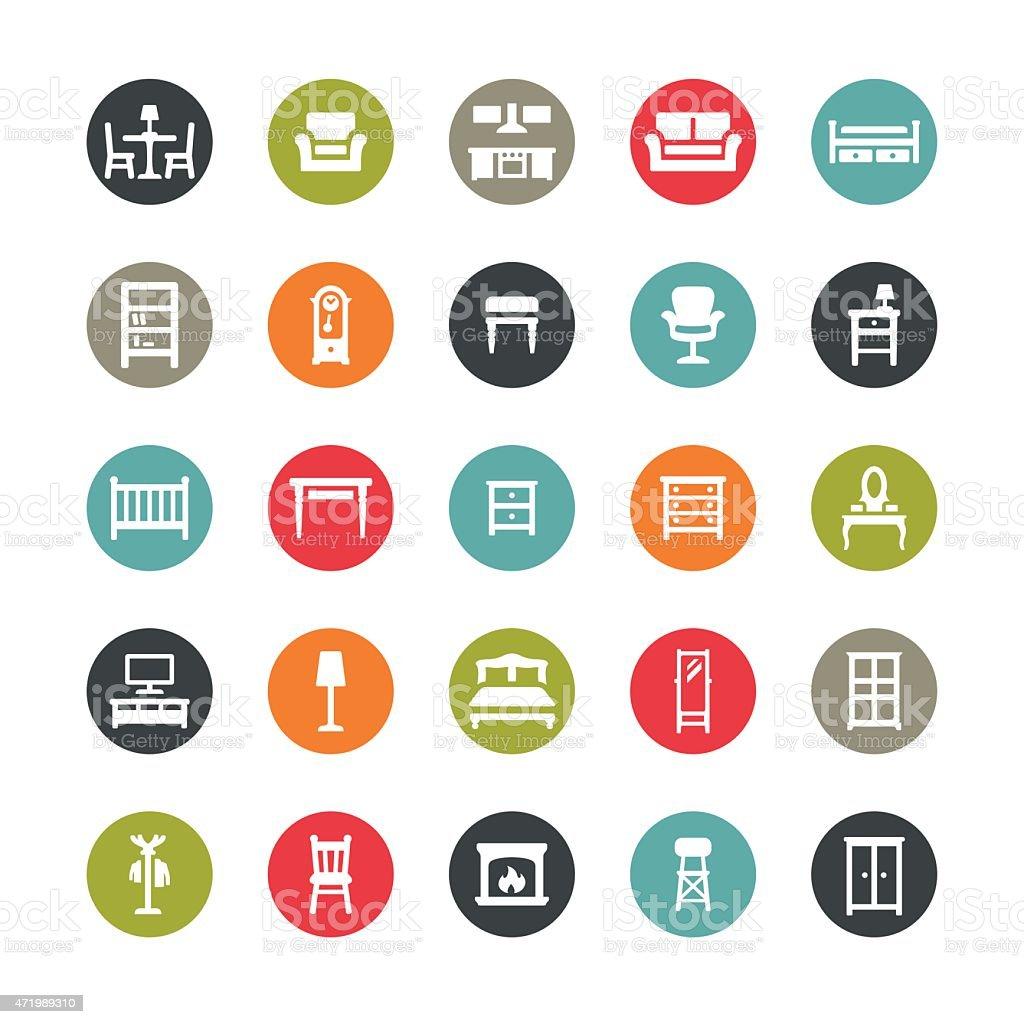 Furniture icons / Ringico series vector art illustration