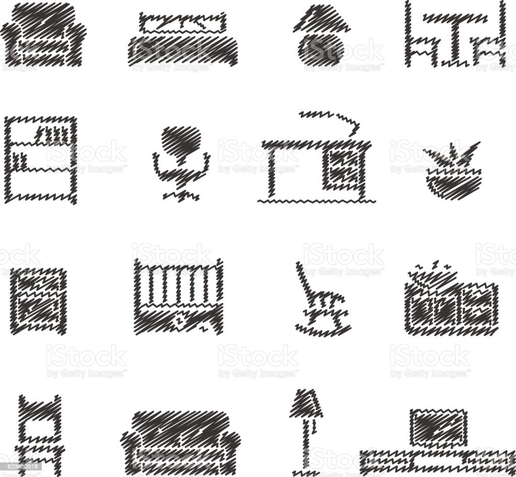 Furniture Icons // Scribble series vector art illustration