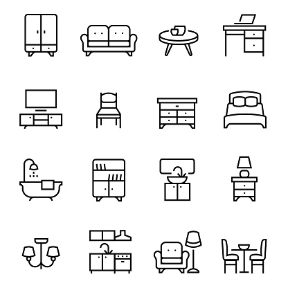 furniture icons set, such as kitchen, bathroom, sofa, etc, editable vector stroke