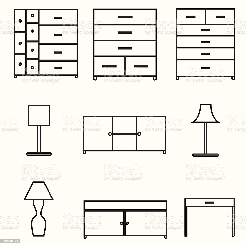 furniture icons set royalty-free stock vector art