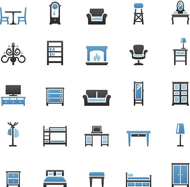 ilustrações de stock, clip art, desenhos animados e ícones de conjunto de ícones de móveis - sideboard