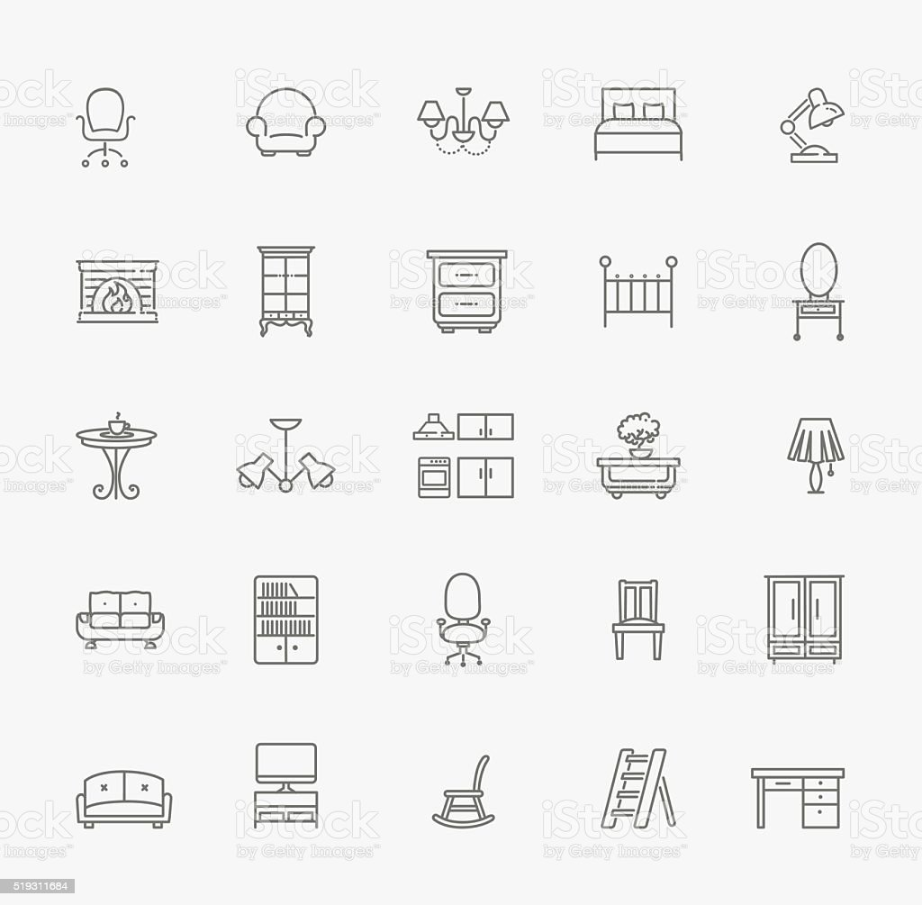 Meubles icônes Set - Illustration vectorielle