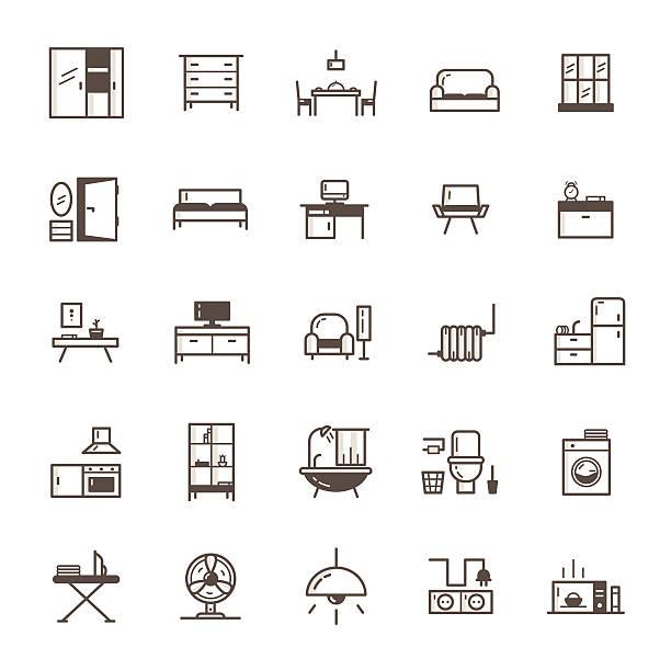 möbel-symbole-set  - waschküchendekorationen stock-grafiken, -clipart, -cartoons und -symbole