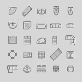 furniture icons, top view for your design