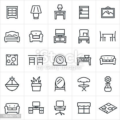 A set of furniture icons. The icons include furniture items of a dresser, lamp, night stand, book shelf, picture, bed, chair, love seat, couch, television, entertainment center, seat, dining table, decorative pillow, bar, clock, coffee table, sofa, chandelier, plant, mirror, table, computer desk, office chair, and area rug.