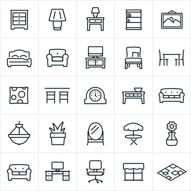 Furniture Icons A set of furniture icons. The icons include furniture items of a dresser, lamp, night stand, book shelf, picture, bed, chair, love seat, couch, television, entertainment center, seat, dining table, decorative pillow, bar, clock, coffee table, sofa, chandelier, plant, mirror, table, computer desk, office chair, and area rug. bed furniture stock illustrations