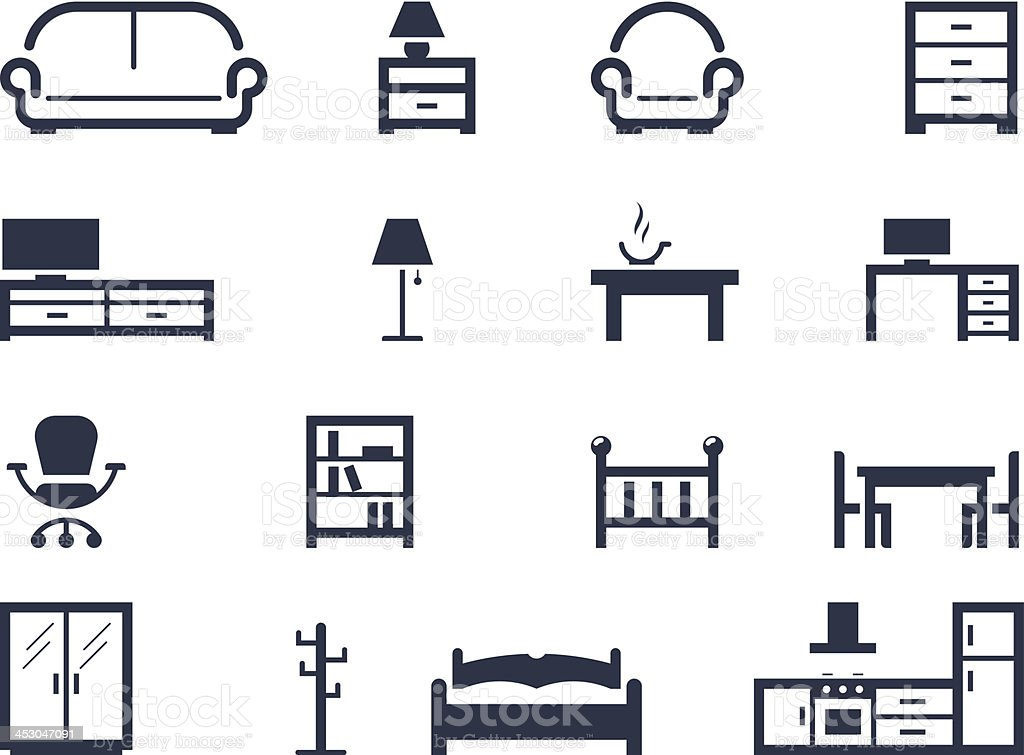 Furniture icons vector art illustration