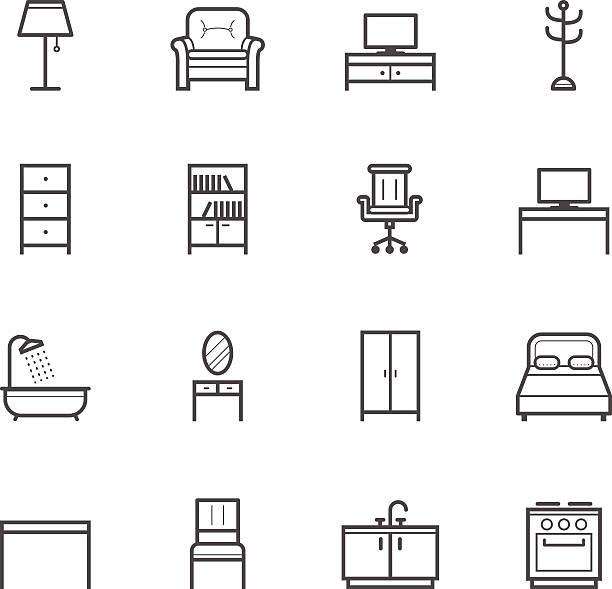 ilustrações de stock, clip art, desenhos animados e ícones de ícones de móveis - sideboard