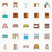 Furniture icons (color version)
