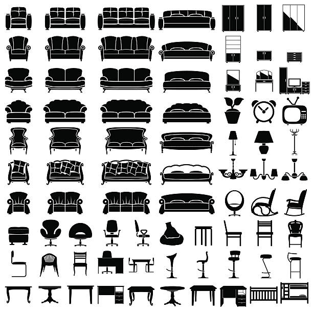 Furniture icons furniture icon set on white background. Vector. bedroom silhouettes stock illustrations