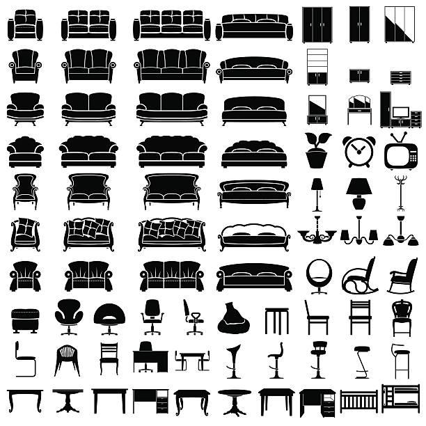 ilustrações de stock, clip art, desenhos animados e ícones de ícones de móveis - mesa mobília
