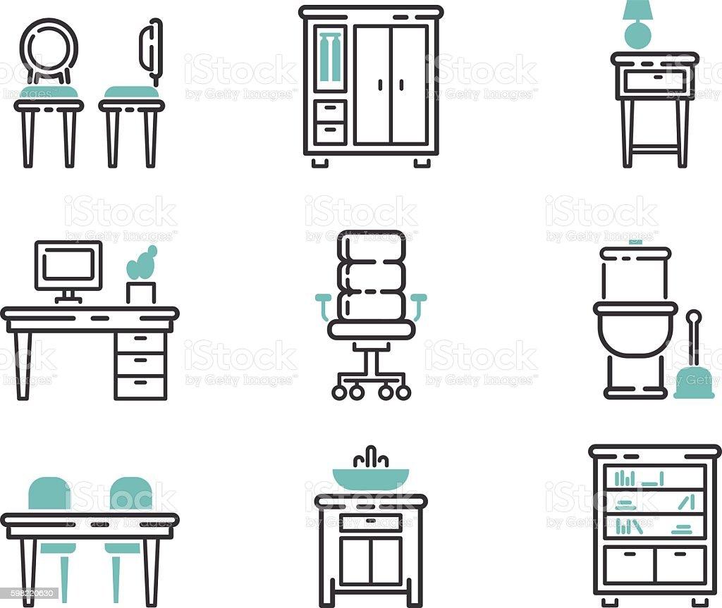 Furniture icons vector illustration. ilustração de furniture icons vector illustration e mais banco de imagens de cama royalty-free