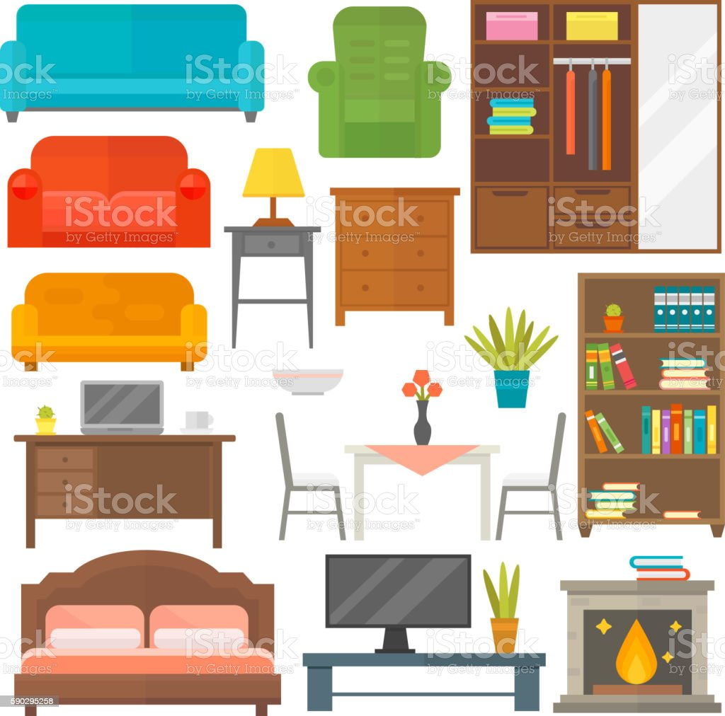 Furniture icons vector isolated royaltyfri furniture icons vector isolated-vektorgrafik och fler bilder på arkivskåp