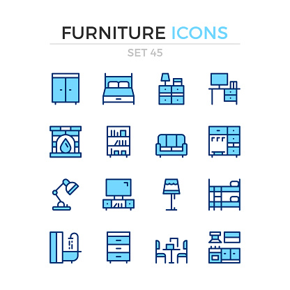 Furniture icons. Vector line icons set. Premium quality. Simple thin line design. Modern outline symbols, linear stroke pictograms.