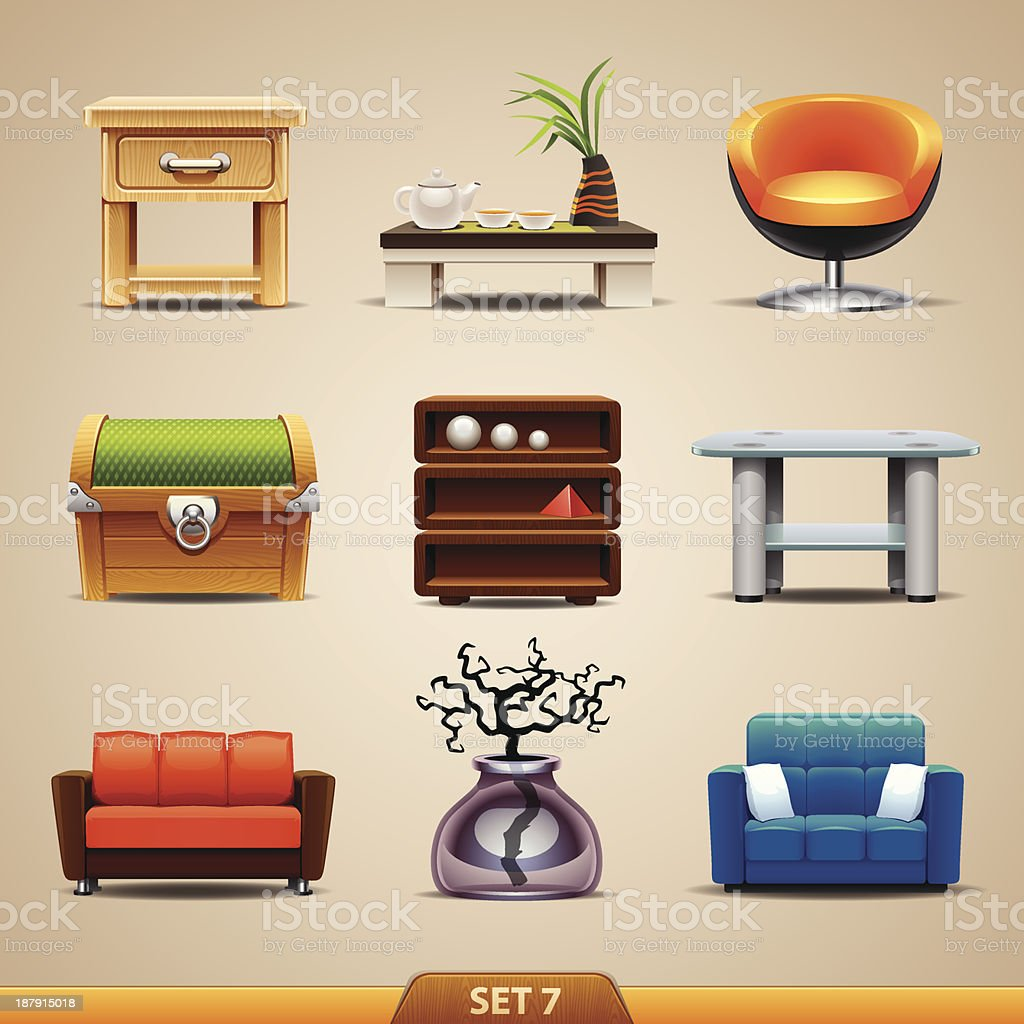 Furniture icons-set 7 royalty-free furniture iconsset 7 stock vector art & more images of armchair