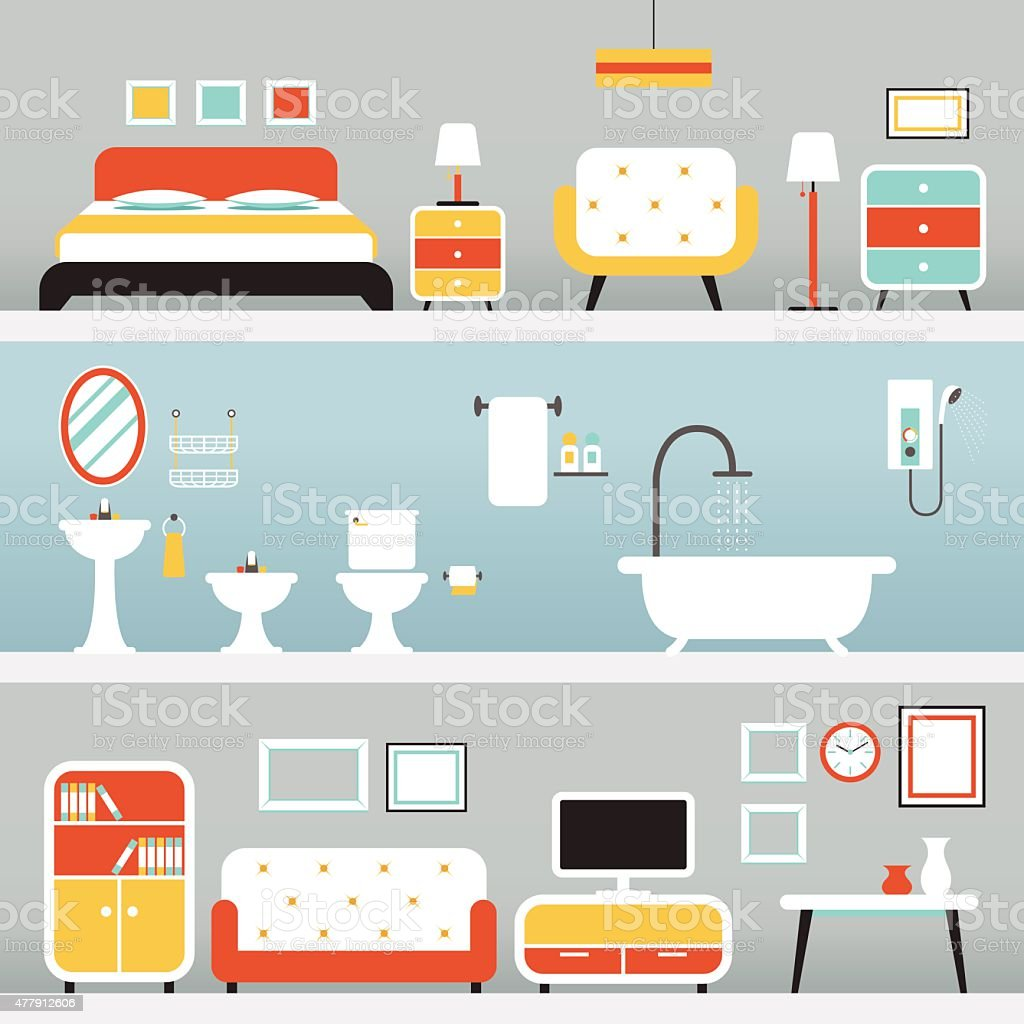 Furniture in Bedroom, Bathroom, Living Room vector art illustration