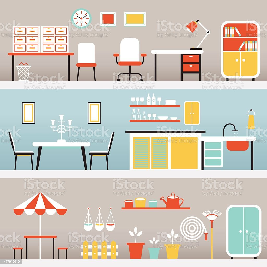 Furniture in Office, Kitchen, Outdoor