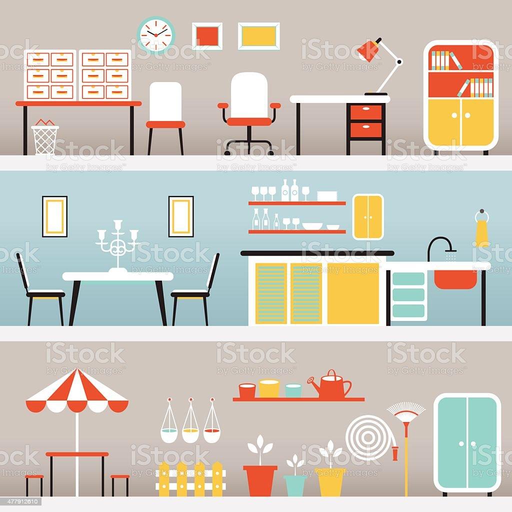 Furniture in Office, Kitchen, Outdoor vector art illustration