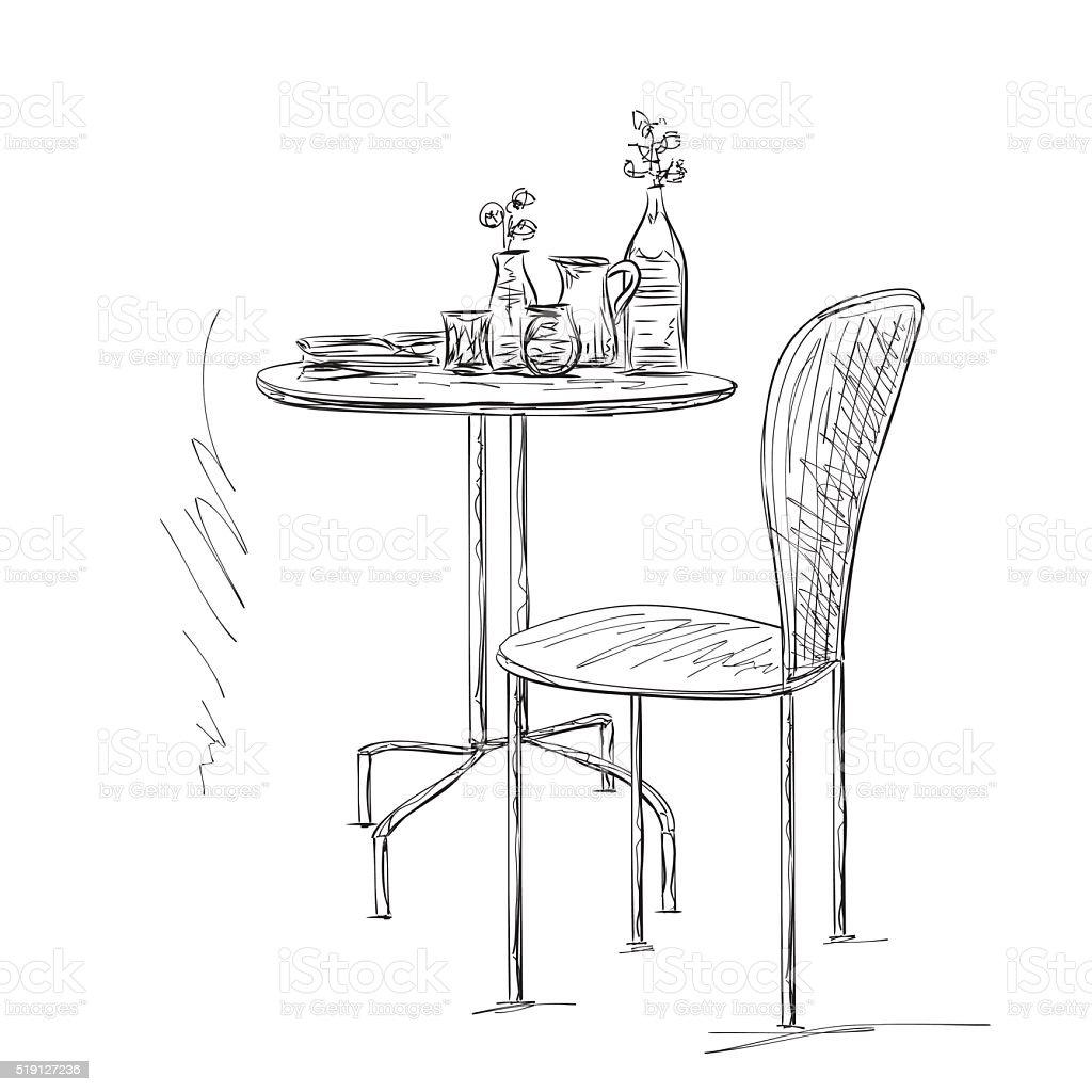 Ilustración de Muebles En El Verano De Café Silla Y Mesa De Dibujo y ...