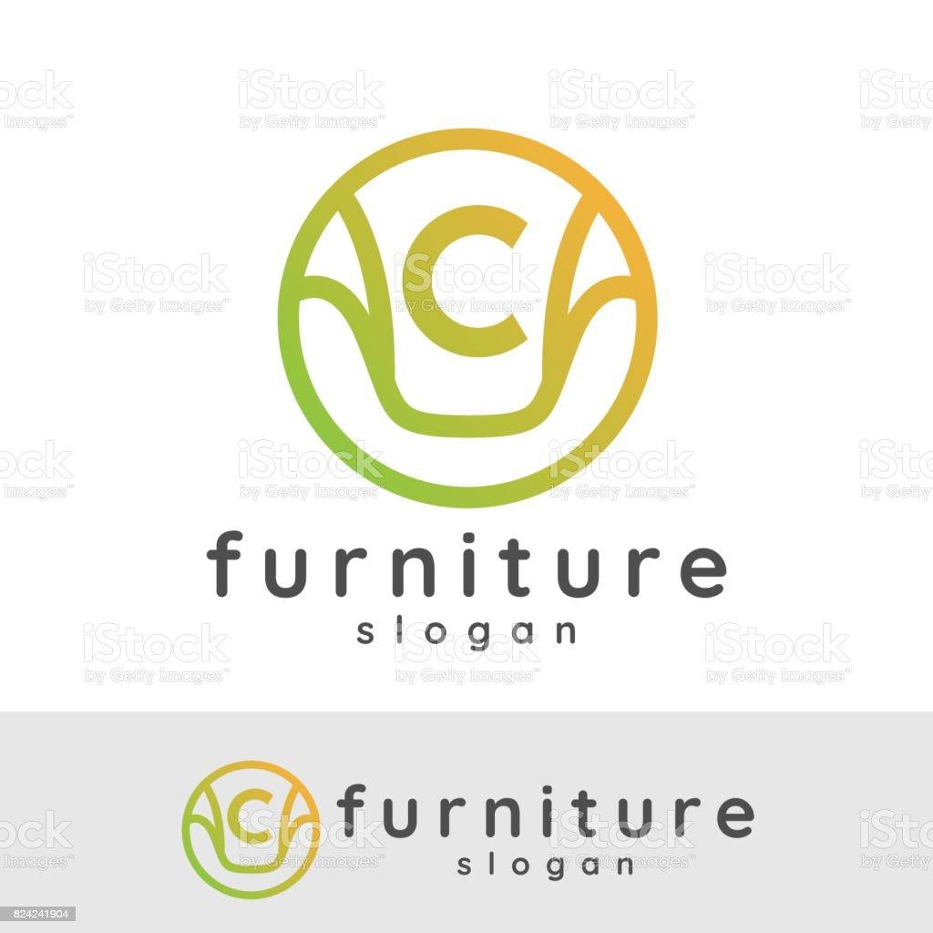 furniture initial Letter C icon design vector art illustration