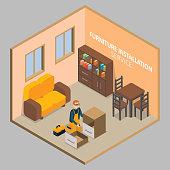 Furniture installation vector isometric concept