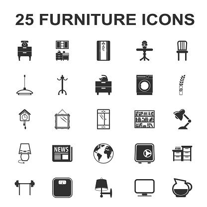 furniture, interior 25 black simple icons set for web