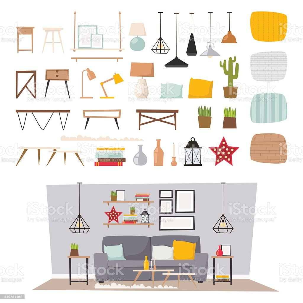 Furniture interior and home decor concept icon set flat vector