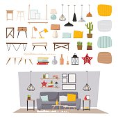 Furniture interior decor elements and room design furniture interior style concept vector. Furniture interior and home decor concept icon set flat vector illustration.
