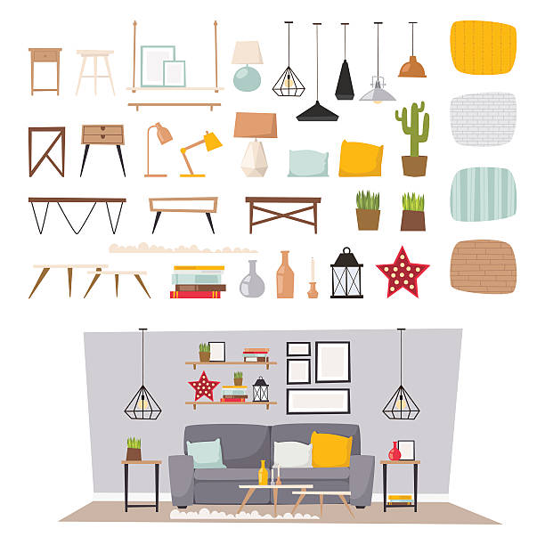 stockillustraties, clipart, cartoons en iconen met furniture interior and home decor concept icon set flat vector - interior design