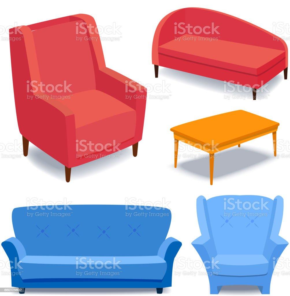Möbel Interieur Symbole Wohndesign Modernen Wohnzimmer Haus Sofa