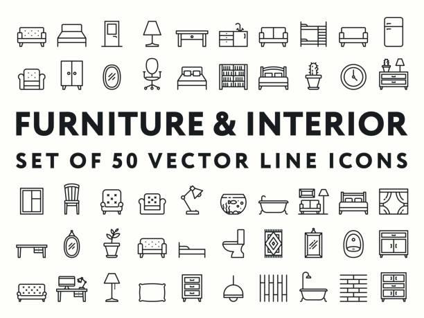 möbel minimal innenfarbe flache linie icon-set. sofa, couch, sessel, bh, tabelle, schublade, schrank, spüle, bett, kühlschrank, spiegel, locker, kaktus, topf, uhren, pissoir, schreibtisch, lampe, aquarium, teppich, teppich - funktionssofa stock-grafiken, -clipart, -cartoons und -symbole