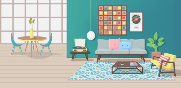 Furniture. Interior Furniture. Interior. Living Room with a Couch, Table, Lamp, Picture, Pillows, Magazine, Carpet, Vinyl Player, Armchair. Vector illustration bedroom backgrounds stock illustrations