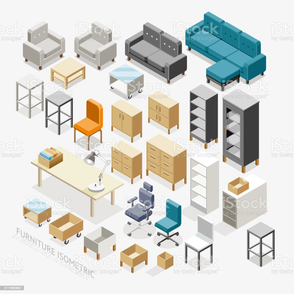 Furniture isometric icons. vector art illustration