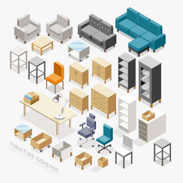 Isométrique icônes de meubles. - Illustration vectorielle