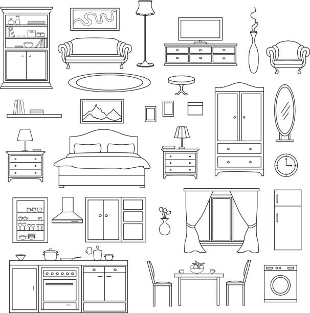 Furniture Items Set in linear style. Living Room, Bedroom, Kitchen Interior Elements. Furniture Items Set in linear style. Living Room, Bedroom, Kitchen Interior Elements. bedroom borders stock illustrations