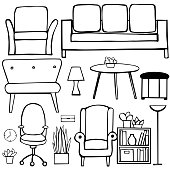 Furniture, lamps and plants for the home. Vector sketch  illustration.