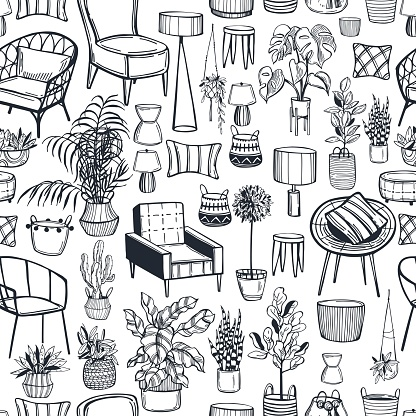 Furniture, lamps and plants for the home.