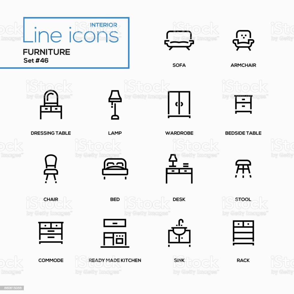 Meubles - ensemble d'icônes du design line - Illustration vectorielle