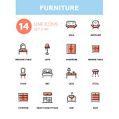 Furniture - line design icons set