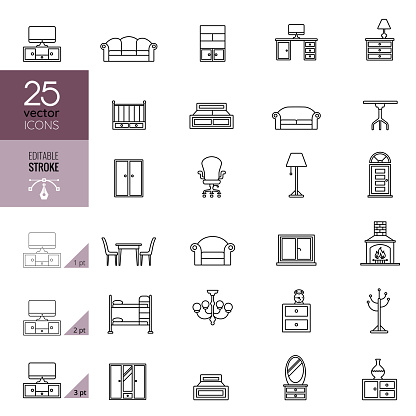 Furniture line icon set. Editable stroke.